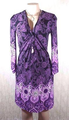 Purple Lavender Black Etc. Bandana BOHO Style Stretch Shift Dress Size Small #INCInternationalConcepts #Shift #Casual