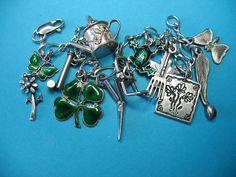 Vintage Sterling Silver  Green Enamel Charm Bracelet