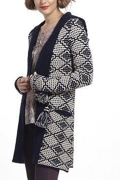 Tasseled Jacquard Cardigan - Check out that 8 pointed pattern Stephanie Fliss!  #anthropologie