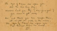 """The Eyes of Texas"" was not original school song. The original school song was ""Jolly Students of the 'Varsity,"" composed in 1902 by Longhorn band members John Lang Sinclair and Lewis Johnson. Sinclair and Johnson wrote ""The Eyes of Texas"" the following year. Shown here are Sinclair's hand-written lyrics to ""The Eyes of Texas."" [Credit: UT Austin's Briscoe Center for American History]"