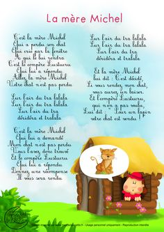 Paroles_La mère Michel Plus French Kids, Love French, Learn French, French Poems, French Nursery, French Expressions, French Classroom, French Resources, French Immersion