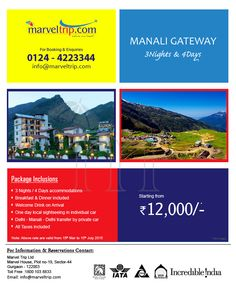 MANALI GATEWAY  03 Night / 04 Days Starting From 12000/-PP Book Now at : http://www.marveltrip.com/package/Package.aspx?packageSearch=domas/2/63/20/0  or Call on: 0124-4223344