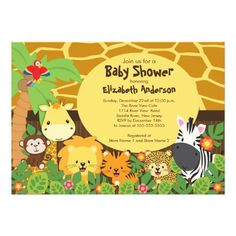 Start your jungle themed baby shower off right with our adorable baby animals safari baby shower invitation.  Our cute invitation features a giraffe print background with a palm tree, parrot, giraffe, monkey lion, tiger & zebra set on a  jungle leaf with flowers background.  The  coordination back of this invitation features jungle leaves with the sweetest little monkey!  Visit our shop to view this design in different variations and for matching thank you note cards, postage stamps and ...