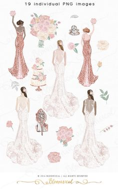 A delicate and soft modern bridal graphic set including an elegant bride in watercolor lace, bridesmaids in rose gold chic glitter, wedding cake, diamond rings, sparkling high heel shoes, shabby chic bouquets and floral elements. The color scheme is romantic and feminine in soft pink,