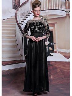 Alluring Chiffon Bateau Neckline Floor-length A-line Evening Dress