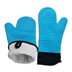 Heat Resistant Gloves, Oven Mitts, Silicone Glove for Cooking, Lengthened Padding Silicone Anti-scald High-temperature Insulation Gloves - 1 Pair (Blue)
