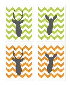 Deer Antlers Yellow Citrine Chevron Print Set Nursery Wall Art Woodland Home Decor Office Art. $33.00, via Etsy.