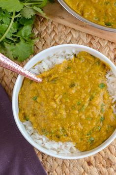 Simple but delicious Low Syn Red Lentil Dhal - pure comfort in a bowl and a perfect recipe for freezing leftovers - gluten free, dairy free, vegan, Slimming World and Weight Watchers friendly Red Lentil Recipes, Veg Recipes, Spicy Recipes, Curry Recipes, Dinner Recipes, Healthy Recipes, Savoury Recipes, Recipes