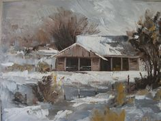 WINTER HAY, snow, farmyard, winter, landscape, small painting, rustic, New Zealand art, grey, white, hand painted, artist signed, home decor by KareNZGallery on Etsy