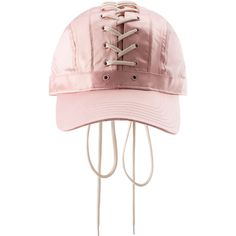 Fenty Puma By Rihanna Lace-Up Baseball Hat (250 BRL) ❤ liked on Polyvore featuring accessories, hats, accessories hats, leather baseball caps, lace up hat, baseball hats, leather crown and baseball cap hats