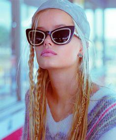 "Eyeware: Cateye Sunglasses <3 ~ Frida Aasen in ""Street Racer, Blue Eyes, Teenage Dream"" by Hugh Lippe for Russh Magazine, December 2013/January 2014"