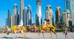Exotic: Tourists enjoy camel rides across white sands in Dubai, in the United Arab Emirates, which was named in the Lonely Planet list Dubai Beach, Visit Dubai, Dubai Travel, Travel Goals, Travel Agency, Amazing Destinations, Lonely Planet, The Places Youll Go, Places