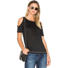DEREK LAM 10 CROSBY Cold Shoulder Tee ($200) ❤ liked on Polyvore featuring tops, t-shirts, fashion tops, cut out shoulder tee, embellished t shirts, open shoulder tee, cold shoulder tops and cut out tee