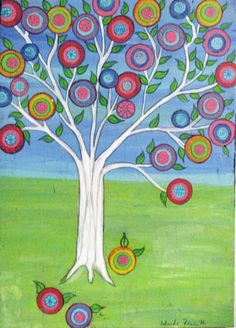 On Sale for the holiday Tree of life Mexican folk art Style Painting on upcycled wood Happy Tree by icColors on Etsy