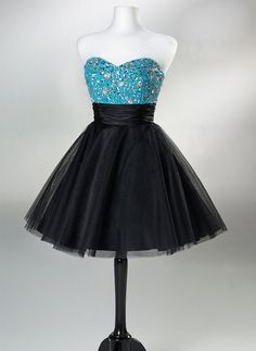 Black A-line Sweetheart Short Mini homecoming dress, prom dress, cocktail dress, dress for homecoming