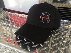 Thin Red Line  Firefighter Flex Fit Hat  Fire Department