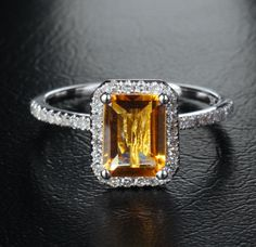 Emerald Cut Citrine 14K White Gold .29ct Diamond Halo Engagement Ring