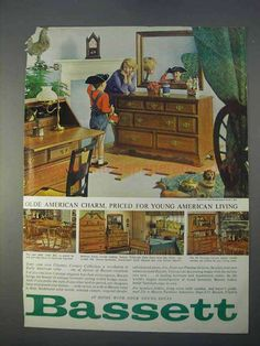 1966 Bassett Furniture Ad - Olde American Charm-This is a 1966 ad for a Bassett Furniture! The size of the ad is approximately The capti Maple Furniture, Cheap Patio Furniture, Entryway Furniture, Art Deco Furniture, Furniture Logo, Funky Furniture, Furniture Makeover, Smart Furniture, Urban Furniture