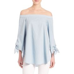 Tibi Pale Denim Top ($310) ❤ liked on Polyvore featuring tops, apparel & accessories, palde, knot top, off-the-shoulder tops, denim top, off shoulder long sleeve top and sweater pullover