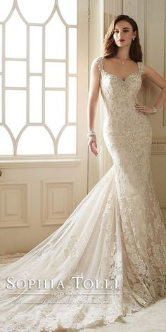 sophia tolli diamond tulle allover lace gold wedding dresses spring 2016 Y11651