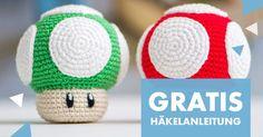 """Häkelanleitung für den 1Up Pilz aus """"Super Mario World"""" von AradiyaToys - Häkelanleitungen bei Makerist"""