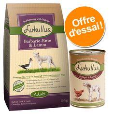 Animalerie  Offre Lukullus : croquettes 15 kg  boîtes 6 x 400 g  croquettes canard de Barbarie agneau (15 kg)  nourriture humide cœurs de dinde oie (6 x 400 g)