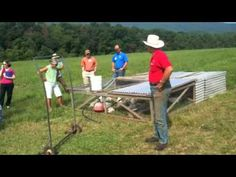 """PolyFace Broilers and turkeys 1  Using a """"one-man dolly to move the chicken tractors. Works really well: takes only 60 seconds to move, no litter to haul in or manure to haul out, no concrete,  no diseases, etc. Raise chickens and turkeys together (1 to 5 ratio)."""