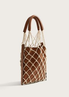 Combined net bag – Plus sizes Combined net bag, leather and mesh bag, brown leather bag with cream-colored mesh lining and leather handles, Bucket Bag, Net Bag, Macrame Bag, Crochet Handbags, Cheap Bags, Leather Handle, Leather Totes, Leather Purses, Large Bags