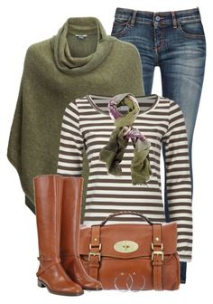 Green Poncho by daiscat on Polyvore featuring polyvore, fashion, style, Vero Moda, Kavu, Armani Jeans, Fratelli Rossetti, Mulberry, Coco's Liberty, Chesca and clothing