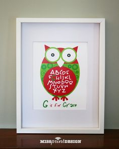 Owl Baby Nursery Art, Personalized, Alphabet Print, Baby Shower Gift 8x10. $18.00, via Etsy.... or DIY