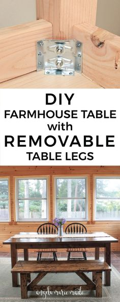 How to build a farmhouse table with removable legs. Click to get the free build plans!!! Great for farmhouse decor or rustic decor!