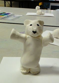 These might just be the cutest little creatures I've seen my kids create! We used model magic to create the polar bears after discussing d. Model Magic, Winter Art Projects, Winter Crafts For Kids, Winter Ideas, Kindergarten Self Portraits, Special Needs Art, Yarn Painting, Polar Animals, Polaroid