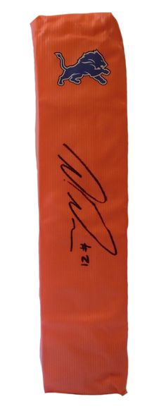 SOLD OUT! Ameer Abdullah signed Detroit Lions full size football touchdown end zone pylon w/ proof photo.  Proof photo of Ameer signing will be included with your purchase along with a COA issued from Southwestconnection-Memorabilia, guaranteeing the item to pass authentication services from PSA/DNA or JSA. Free USPS shipping. www.AutographedwithProof.com is your one stop for autographed collectibles from Detroit sports teams. Check back with us often, as we are always obtaining new items.
