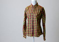 Adorable Vintage Red, Navy Blue, Yellow, & Green Plaid Button-Down Shirt on Etsy, $32.00