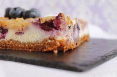 Receta Blueberry cheesecake bars o barritas de tarta de queso con arándanos