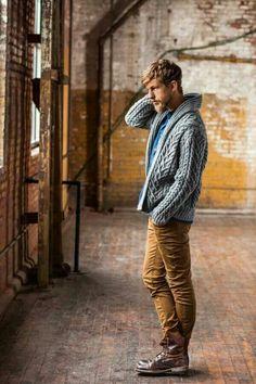 Grey cozy sweater + denim shirt + ocher jeans + brown combat boots