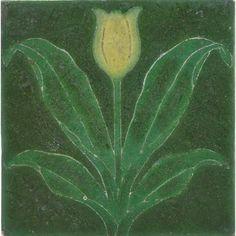 "GRUEBY  Tile with yellow tulip, Boston, MA, ca. 1905; Decorator's initials; 1"" x 6"" sq."