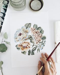 """Circular Floral"" watercolor painting by Shealeen Louise | #artprint #floralart #watercolorflowers #botanicals #wallart"