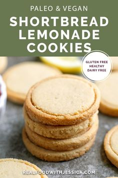 These Paleo Vegan Shortbread Lemonades are a copycat version of the popular Girl., Desserts, These Paleo Vegan Shortbread Lemonades are a copycat version of the popular Girl Scout cookie. Made with just 6 ingredients and so delicious! Gluten f. Paleo Cookies, Gluten Free Cookies, Gluten Free Desserts, Healthy Desserts, Sugar Cookies, Healthy Eats, Healthy Foods, Delicious Desserts, Vegan Shortbread