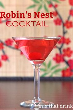 The Robin's Nest cocktail is one of those divine taste sensations that make you not care that it's reddish-pink. The mix of cranberry juice and creme de cacao is one of those things that was meant to be.
