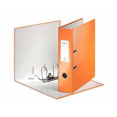 Leitz Ordner 180° WOW, für: DIN A4, 2 Bügel, Rückenbreite: 80 mm, Papier, orange metallic, Farbe des Rückens: orange metallic, Griffloch.
