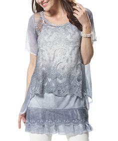 Blue Tiered Lace Top - Plus