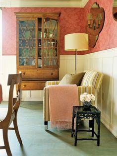 1860's Tiger Maple Cabinet. David Drummond Farmhouse Renovation - Farmhouse Makeover Ideas - House Beautiful