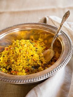 Fluffy basmati rice with turmeric & Middle Eastern spices, roasted eggplant and carrot, chickpeas & pine nuts
