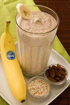 Banana Oatmeal Smoothie  *Blend together 1 banana, 1c ice, 1/4c cooked oatmeal, 1tbl chopped almonds, 1/2c milk, and pinch of cinnamon.
