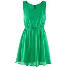 H&M Dress ($22) ❤ liked on Polyvore featuring dresses, vestidos, green, robes, elastic waist dress, chiffon dress, green chiffon dress, h&m dresses and green dress