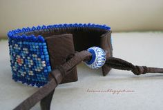 leather backed bead loomed cuff by Lois Moon ¿Qué Onda Q'town?