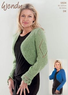 Knitting Pattern for a Bolero and Shrug made in Wendy Celeste DK a soft feminine yarn with an added sparkle of shimmer thread and sequins Will add a