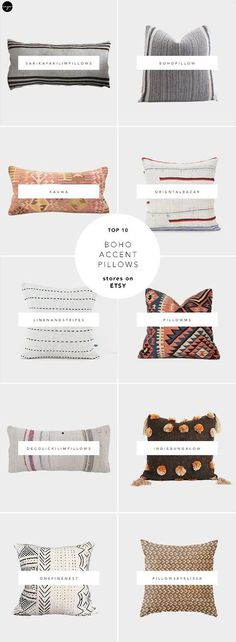 10 best sources for boho accent pillows on Etsy - Pillow Cute Pillows, Ikat Pillows, Boho Pillows, Accent Pillows, Living Room Pillows, Boho Living Room, Living Room Decor, Pillow Room, Pillow Talk