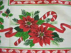 Vintage 1950s Christmas Tablecloth Shiny Brites by shabbyshopgirls